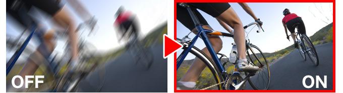 スポーツカムで捉える画像にとって、激しい揺れも臨場感の一部。<br /> とはいえ、目障りになる程のブレはやはりNG。そこで、高精度のブレ補正機能を搭載